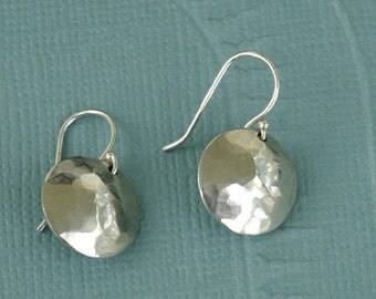 Classic Round Domed Dangles-Sterling Silver dangles, sterling silver disc, hand hammered domed silver earrings, domes,