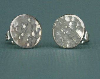 Sterling Silver Hand Hammered Buttons, sterling silver post earrings, round, piercing, sterling silver earrings