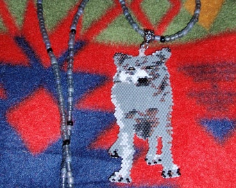 Brick Stitch Full Wolf Pendant/Necklace Clearance 15.00