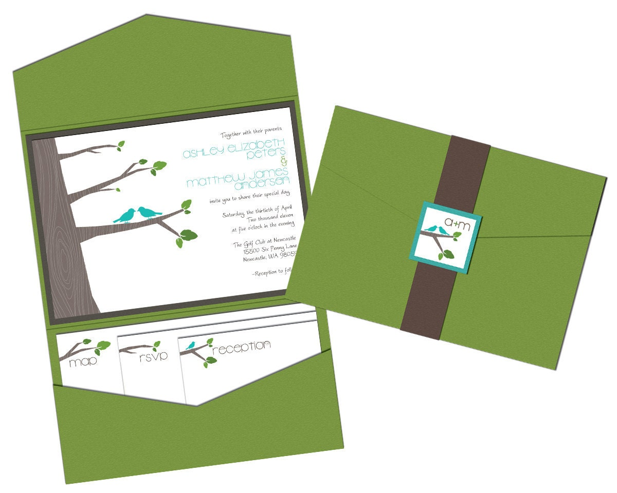 Wedding Invitations Pocketfold: Woodlands Trees & Birds Wedding Invitation Pocket By