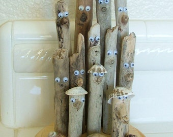 Humorous Comical Driftwood Sculpture for your beach house