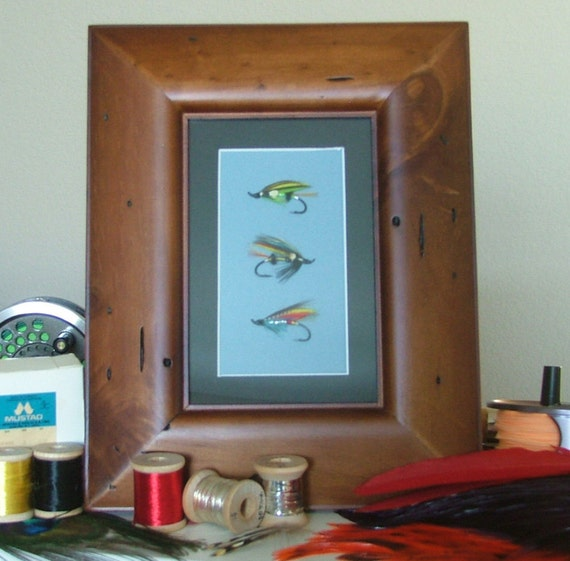 Awesome Gift for a Fisherman, Fly Fishing Art, three classic Atlantic salmon flies matted and  framed