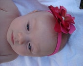 Pretty Pink Fancy Flower Headband with Pearl Accent