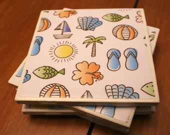 Tile Coasters - Tropical Summer