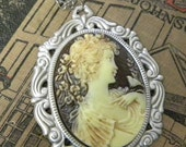 Lovely Cameo Girl with Nightingale on Floral Silver