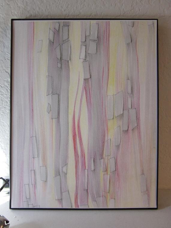 Metropolis. Linear art, modern wall art, Giclée art print, subtle colors, yellow, gray, red
