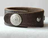 Leather Man Cuff Bracelet with Studs and Western Snap, Rugged Recycled Brown Leather