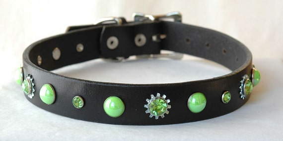 Black Leather dog Collar with Green Pearl and Jeweled Rivets Size Medium or  Large - reclaimed leather
