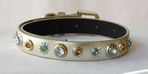 Gold Leather Dog Collar with Jeweled Rivets Size Small  Eco Leather Recycled materials