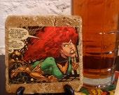 Handmade Comic Hero Stone Coaster - Jean Grey