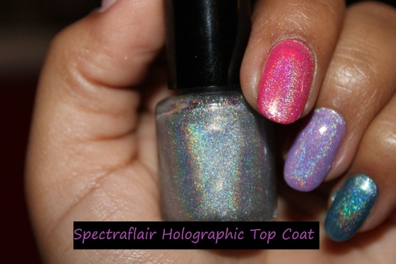 Home made Spectraflair top coat 7ml.. GORGEOUS holographic nail polish that can be used alone or over your favorite polish