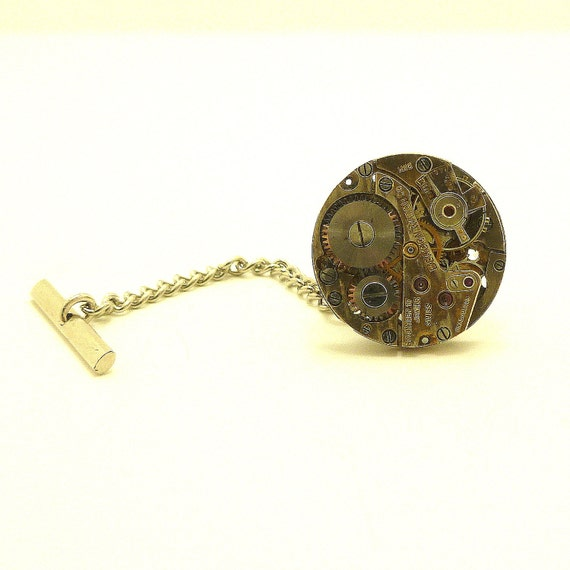 Steampunk Watch Tie Tack, Antique Jeweled Watch Accessory