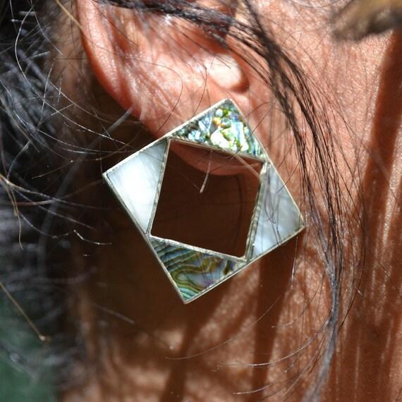 Diamond Cutout Abalone Earrings