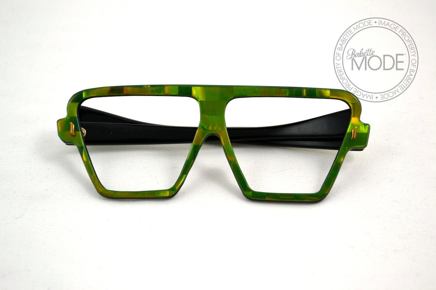 Eyeglass Frames Green : Vintage Green Eyeglass Frames Abstract Kitsch