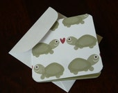 Blank Mini Card Set of 10 - Turtles in Love, Crafty Creations by CraftySherry  on Etsy