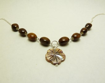 Tropical Flower Shell Necklace with Glass Beads on Silver Plated Chain