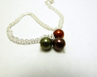Autumn Pearls Necklace on Silver Plated Chain