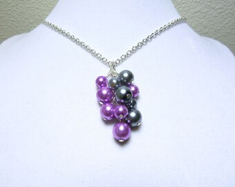 Magenta Gray Cluster - Glass Pearl Cluster Necklace