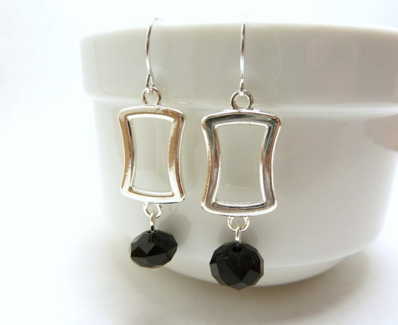 Square Silver Earrings with Faceted Black Rondel
