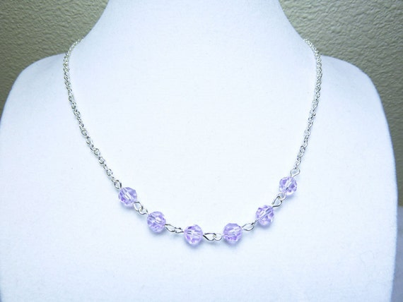 Lilac Swarovski Necklace - Round Crystals on Silver Plated Chain