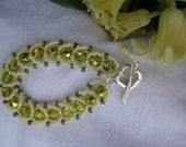 Yellow Gray Bracelet, Beadwoven, Hammered Sterling Silver Toggle Clasp