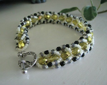 Yellow Bracelet Beadwoven, Black and White with Silver Clasp