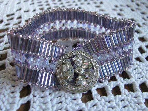 Lavender Bracelet, Beadwoven, Vintage Button, Crystal, Purple, Lilac, Statement , Shabby Chic Bracelet