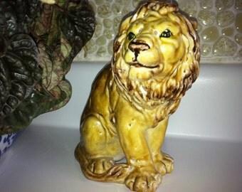 Mid Century African Lion Figurine - Italian Majolica Earthenware