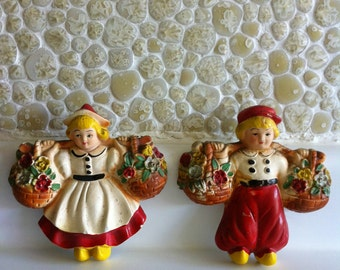 Old Chalkware Kitchen Wall Hangings Dutch Boy and Girl with Flowers