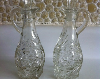 Old Pressed Glass Vinegar and Oil Cruets w/ Stoppers - EAPG Anchor Hocking