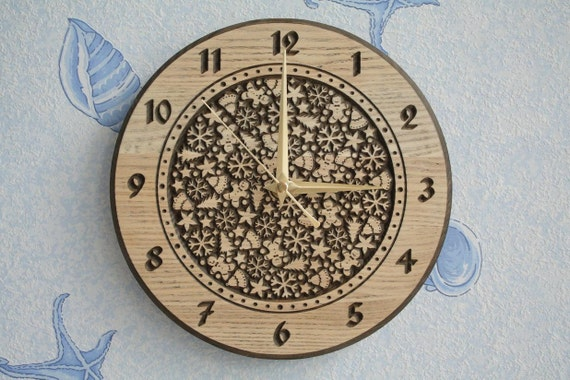 """Wood carved wall clock """"Winter"""""""