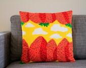 "Marimekko Mansikkavuoret pillow cover in yellow, red, orange and green, 45x45cm (18x18"") - Throw pillow - Cushion case"