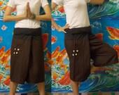Dark Brown and Black 3/4 Leg  Thai Fisherman Pants Lovely.