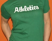 Vintage 1970s A's Athletics Baseball T-Shirt Ham's Place Pizza Indie Green Thin