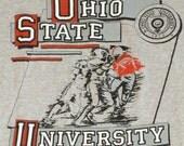 Vintage 1980s OHIO STATE University OSU Buckeye Football T-Shirt Indie Soft Thin Retro Grey