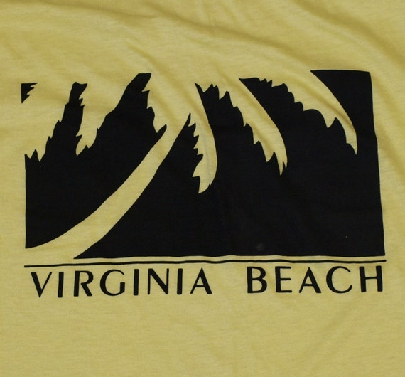 Vintage 1980s Virginia Beach Yellow Palm Tree T-Shirt Never Worn 50/50 Indie Thin Soft