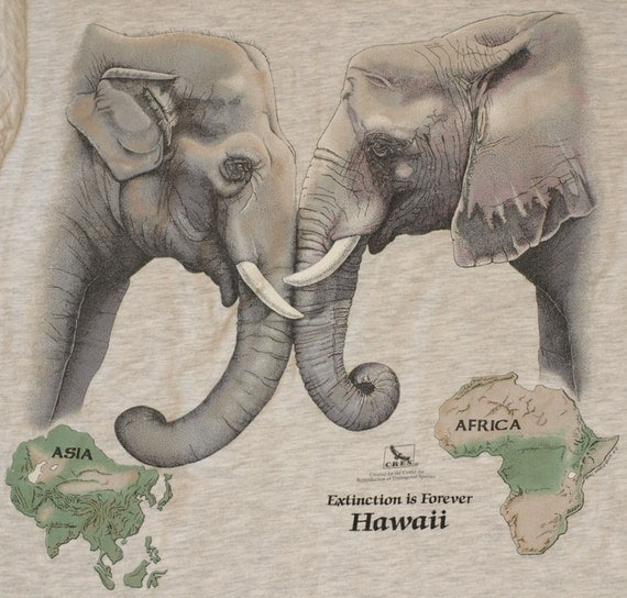 Vintage Asia Africa Elephant Hawaii T-Shirt 2-Sided Animal Protection Endangered Species Shirt