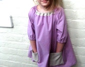 girls dress with pockets - lavender and linen - 12m, 18m, 2T, 3T, 4T, 5T - kyandkin