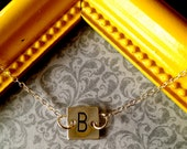 Hand Stamped Sterling Silver Small Square Initial Necklace