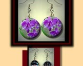 New Jersey Violet State Flower Button Charm Dangle Earrings with Rhinestone