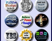 """THINK POSITIVE Law of Attraction 9 Pinback 1"""" Buttons Badges Pins"""