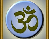 "AUM OM Sanskrit Meditation Yoga 2.25"" large Round Fridge Magnet"