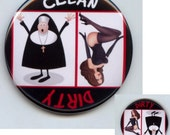 """NUN and PIN UP Girl Dishwasher Clean/Dirty 2.25"""" large Round  Magnet"""