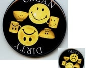 """HAPPY and SAD FACE  Black and Yellow Dishwasher Clean/Dirty 2.25"""" large Round  Magnet"""
