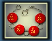 RUSSIAN USSR RUSSIAN Flag Altered Art Button Charm Bracelet with Rhinestone