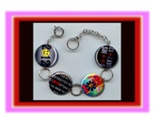HIPPIE 2012 PEACE Love Flowers Charm Bracelet with Rhinestones Altered Art Jewelry