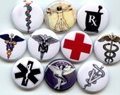 "RESERVED for Karyn 10 Red Cross symbol only Hand Pressed Pinback 1"" Buttons Badges Pins"