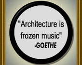 """ARCHITECTURE is Frozen music QUOTE Goethe 2.25"""" large Round Fridge Magnet"""