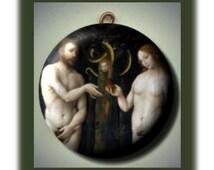 ADAM and EVE Garden of Eden GENESIS Bible Altered Art Charm Pendant with Rhinestone
