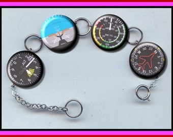 Aviation Aircraft Gauge Charm Bracelet with Rhinestone